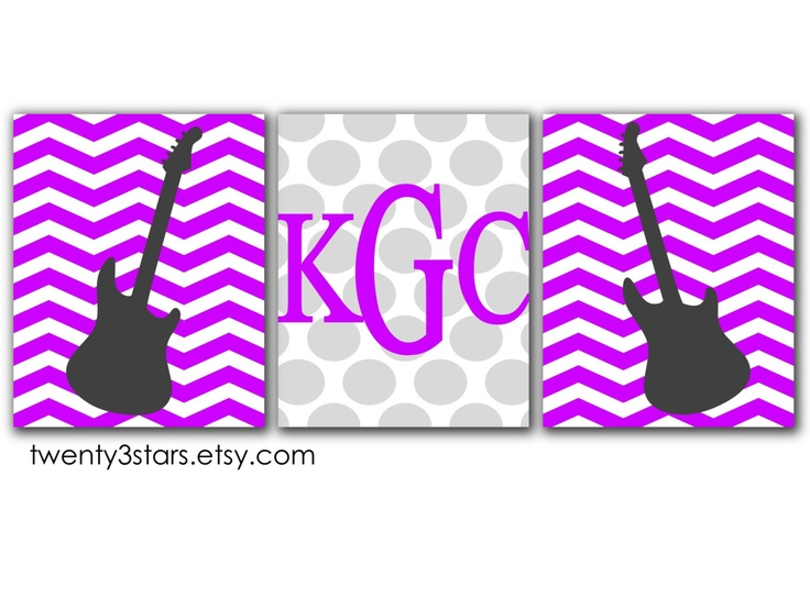 Chevron Rock Star Guitars and Monogram Prints, Choose The Colors and Patterns, Perfect Gift for a Rock Star Nursery or Childs Room. $42.00, via Etsy.
