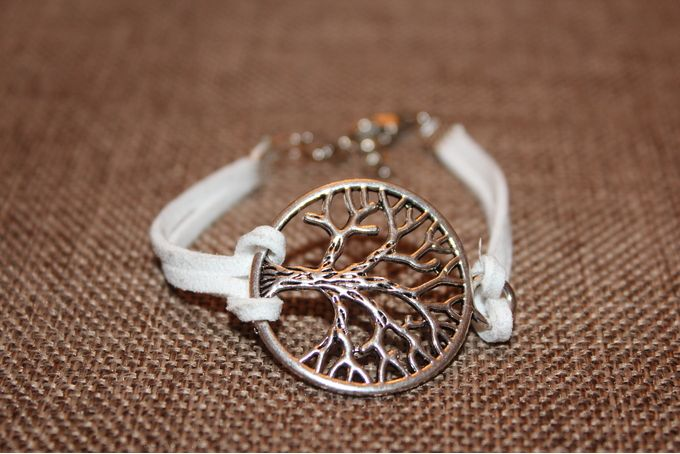 White Leather Tree of Life Arm Candy by Roxi K Designs