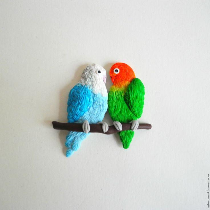 Купить Брошь Попугаи. - комбинированный, попугаи, экзотика, птички, броши, подарок, подарок девушке