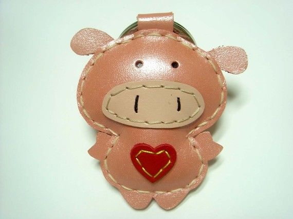 Polly the Pig Leather Keychain  Metallic Pink  by leatherprince, $19.90