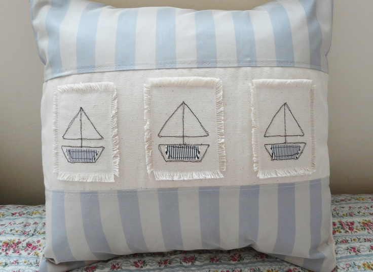 Handmade Cushion cover with boats  for Janets beach hut
