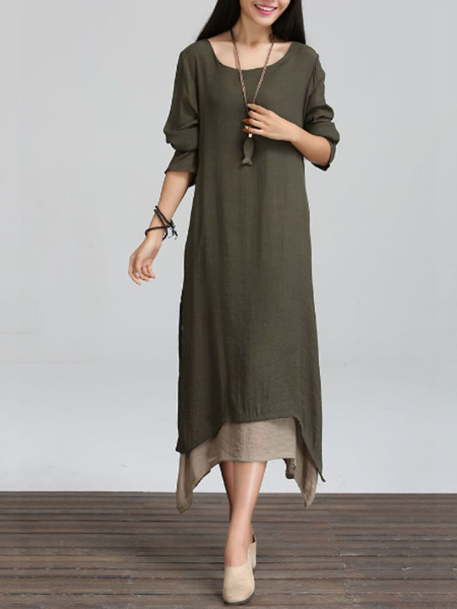 Buy Asymmetric Hem Color Block Double Layer Maxi Dress online with cheap prices and discover fashion Maxi Dresses at Fashionmia.com.