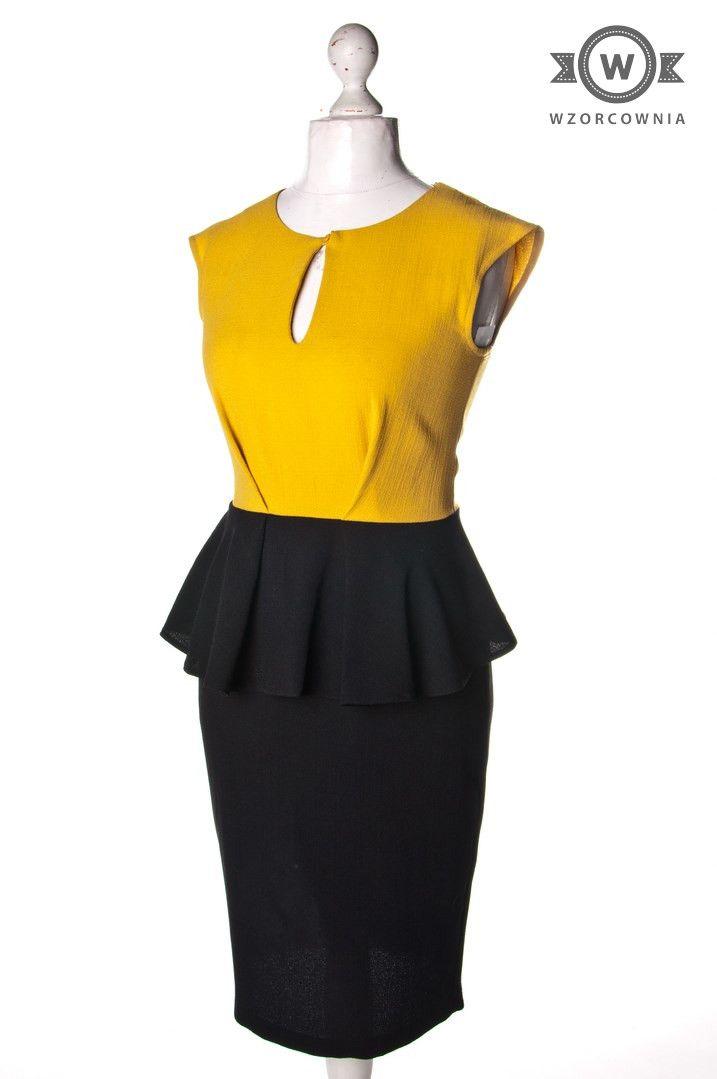 >> Żółto-czarna #sukienka z baskinką i suwakiem z tyłu #Wzorcownia online | #woman #dress #Closet