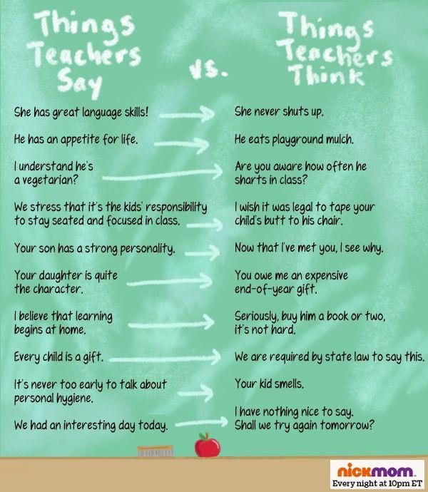 Things Teachers Say vs. Things Teachers Think