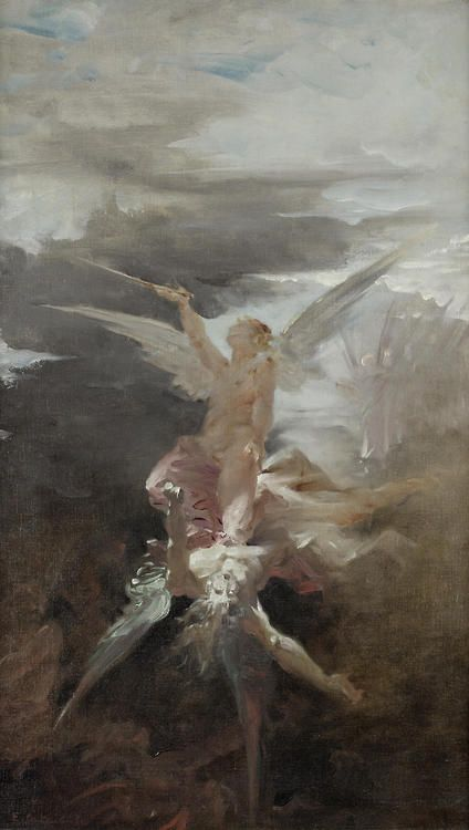 Guillaume Dubufe (French, 1853-1909), The Fall of Lucifer. Oil on canvas, 72 x 43.5 cm.