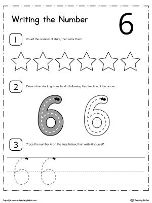 **FREE** Learn to Count and Write Number 6 Worksheet. Teach your child how to count and write numbers. Practice counting and writting number 6.
