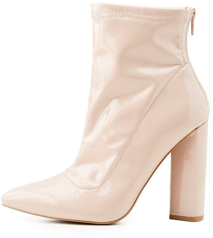 Charlotte Russe Faux Patent Leather Pointed Toe Sock Booties