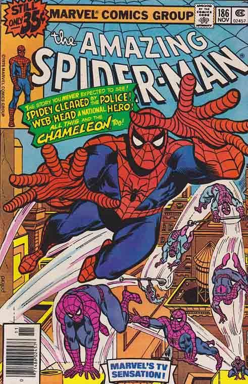 AMAZING SPIDER-MAN #186. Keith Pollard  Pencils - Cover Art / Marv Wolfman Scripts. Chaos is..The Chameleon.  #comics #comicbooks #marvelcomics  #spiderman #amazingspiderman #comicbooks #comics #marvelcomics