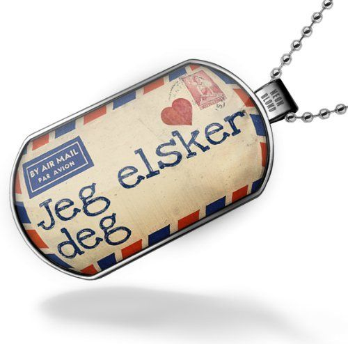 """Neonblond Dogtag """"I Love You"""" Norwegian Love Letter from Norway - Dog tags necklace NEONBLOND Dogtags. $18.99. Unisex gift for man & woman. Thick High Quality. Image size 47mm x 27mm. Comes with our Free Velvet and Satin Bag. We have more then 4000 different Dogtag necklaces. Save 21% Off!"""