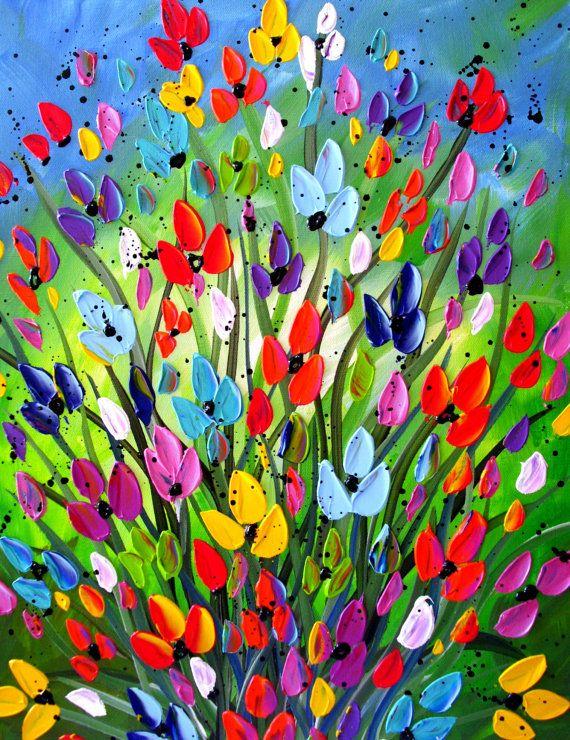 Textura de pintura colorida flor flor por DistinctiveModernArt