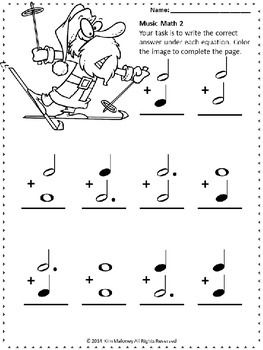 MUSIC MATH WITH A SANTA THEME - 24 music math worksheets aimed at reinforcing students' understanding and knowledge of note and rest values.   #musiceducation #MusicTeacherResources