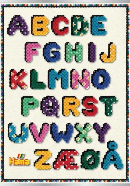 ABC Poster - Inspiration Buchstaben Vorlage - beidseitig bedruckt Hama Bügelperlen Vorlagen-Hefte