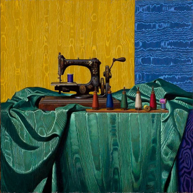 Antique Sewing Machine and Moire | From a unique collection of still-life drawings and watercolors at https://www.1stdibs.com/art/drawings-watercolor-paintings/still-life-drawings-watercolors/