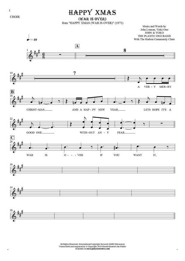 Happy Xmas (War Is Over) sheet music by John & Yoko The Plastic Ono Band. From album Happy Xmas (War Is Over) (1971). Part: Notes and lyrics for vocal - backing vocals.