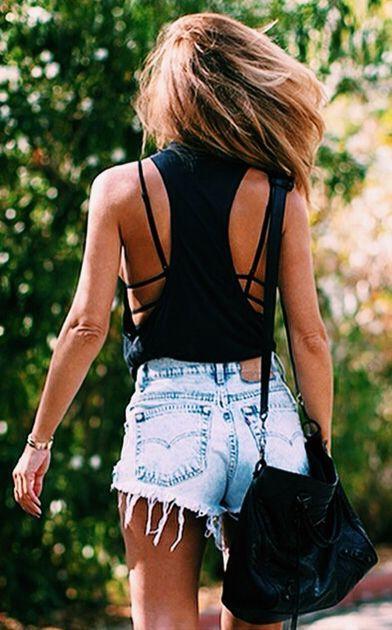 Shop this look on Lookastic:  http://lookastic.com/women/looks/black-tank-light-blue-denim-shorts-black-leather-crossbody-bag/10794  — Black Tank  — Light Blue Denim Shorts  — Black Leather Crossbody Bag