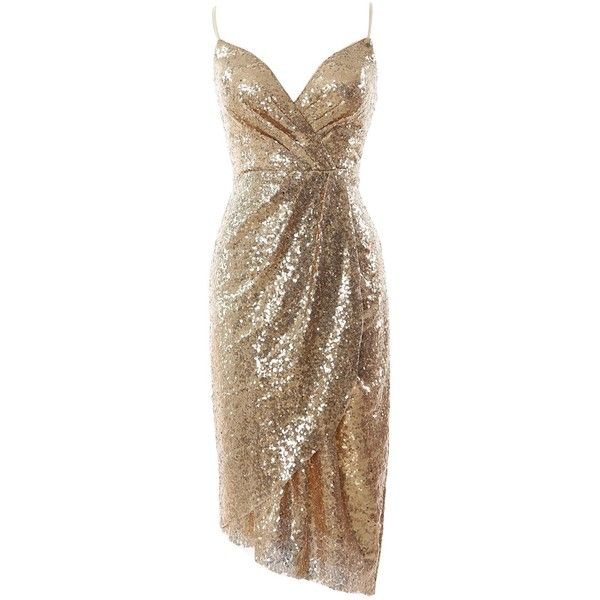 MACloth Women Sexy V Neck Sequin Midi Cocktail Dress Wedding Formal... ($109) ❤ liked on Polyvore featuring dresses, sexy sequin dresses, gold sequin dress, sexy dresses, brown formal dresses and v neck sequin dress
