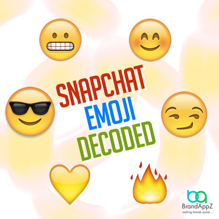 ‪#‎SocialTip‬ Here is what snapchat emoji mean in case you didn't know anything about it at all. Gold Heart - You are each others #1 best friend.  Grimace Face - You share a #1 best friend.  Smiling Face - They are among the people you snap the most. Sunglasses Face - You share a mutual best friend.  Smirking Face - They are one of the people that snap you the most but they are not one of the people you snap the most. Fire Emoji - You have been snapping for the consecutive amount of days…