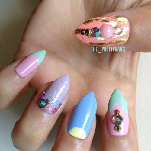 Sorbet Nails ✨#nails #nailart #nailgasm #nailporn #nailswag #naildesign #longnails #fakenails #falsenails #stilettonails #pastel #sorbet #icecream #halfmoonnails #gold #holographic #pink #lilac #modelsown #bethsblue #topshop #revlon #jaded