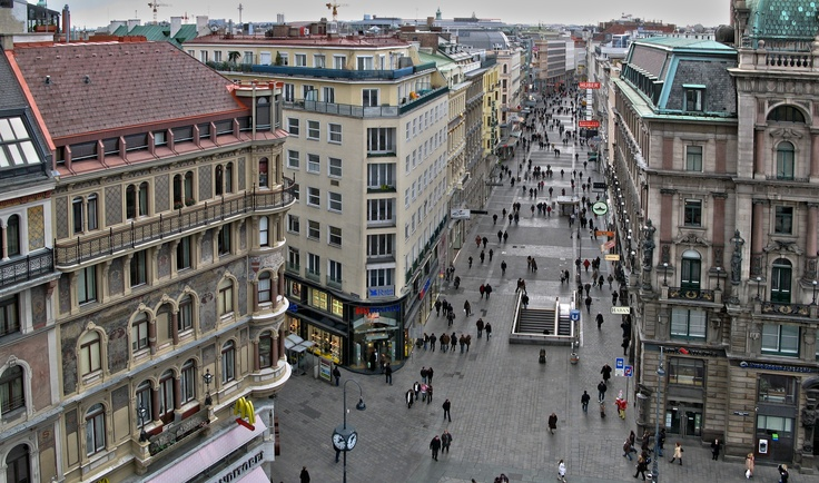 This photo must have been taken from the roof terrace of DO and Co Hotel at Stephansplatz, overlooking Kaerntner Strasse. For one of Vienna's busiest pedestrian streets, it looks quiet.