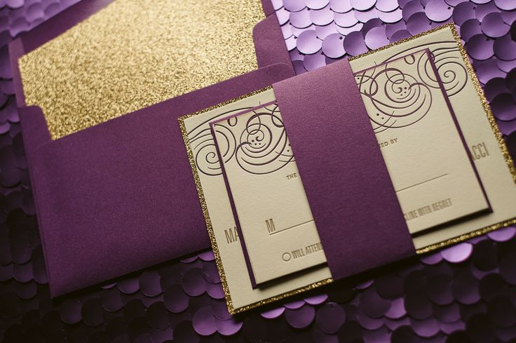 Purple And Gold Wedding Invitations Gold Glitter Wedding – Gold and Purple Wedding Invitations