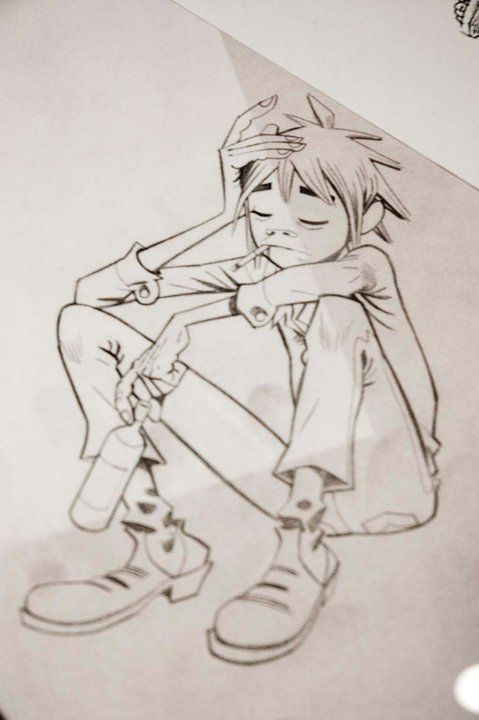 handdrawn sketch of 2D from #Gorillaz. He is in a thinking mood - by Jamie…