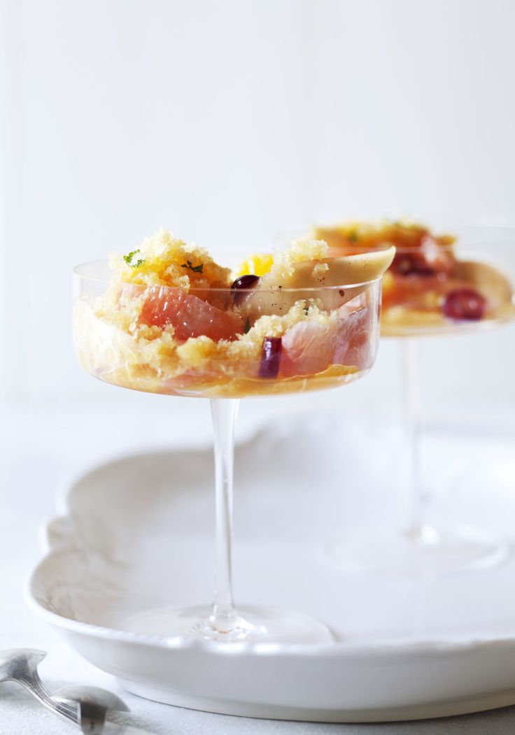 Orange Granita with Honey-Poached Pears, Cranberries and ...