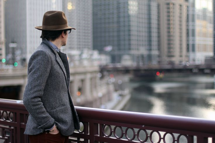Love the hat!Dude Fashion, Classic Hats, Photography Writing, Jackets Combos, Men Fashion, Wide Brim Hats, Tweed Blazers, Bit Hipster, Chicago Street