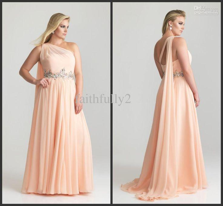 Wholesale Modest One Shoulder Plus Size Prom Dress a Long Shoulder Sash Rhinestone Belt Chiffon Gown P6786W, Free shipping, $113.12-126.56/Piece | DHgate