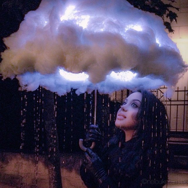 Rain cloud made from an umbrella. LED lights inside the cloud (Diy Halloween)