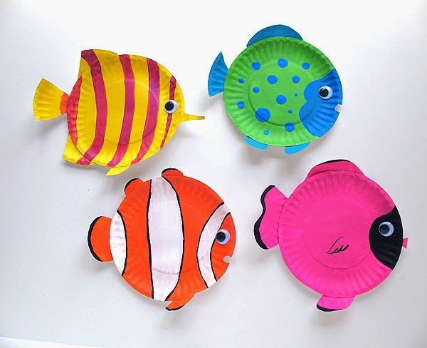Aquarium Crafts and Classroom Bulletin Board Ideas for Fish (Fish Plate Art)