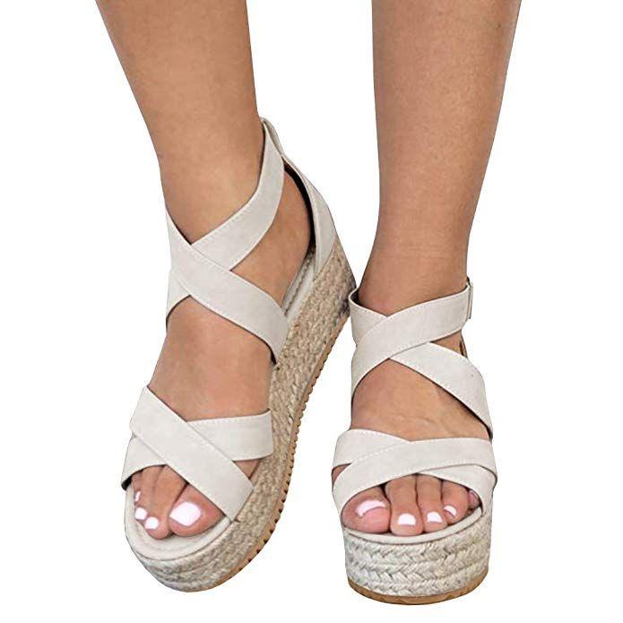2eac458c120 Amazon.com | Syktkmx Womens Flatform Espadrille Strappy Open Toe ...