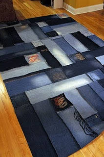 blue jean rug...interesting. would be cool for a kids room and to use all your old jeans!