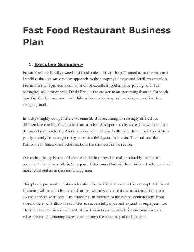 20 Franchise Business Plan Template 2020 Restaurant Business