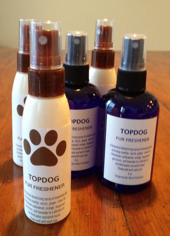 TOPDOG Fur Freshener botanical deodorizing and grooming spray for man's best friend.  For a fresh clean fragrant scent that's not a perfume.