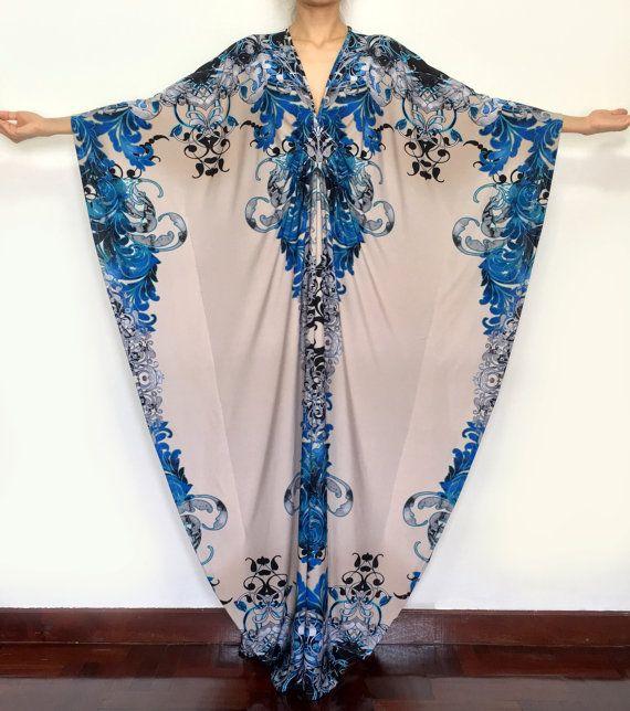 Plus Size Maxi Kaftan Dresses Grey Blue by MaxiDressWardrobe