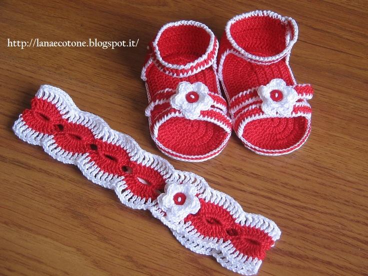 Lana e Cotone (maglia e uncinetto): Sandali e fascetta all'uncinetto