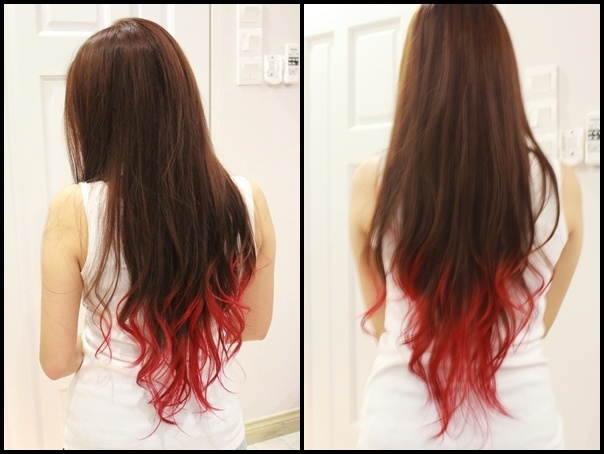 Red dip dyed hair