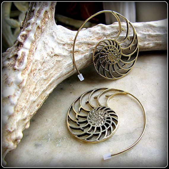 Brass Tribal Spiral Earrings like fake gauges by TalismanaDesigns                                                                                                                                                                                 More