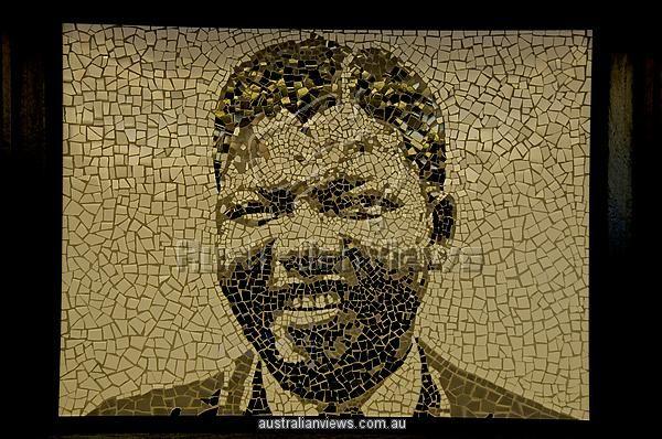 South Africa, Gauteng province, Johannesburg, Soweto, Freedom square, Soweto Hotel, Nelson Mandela in ceramics a