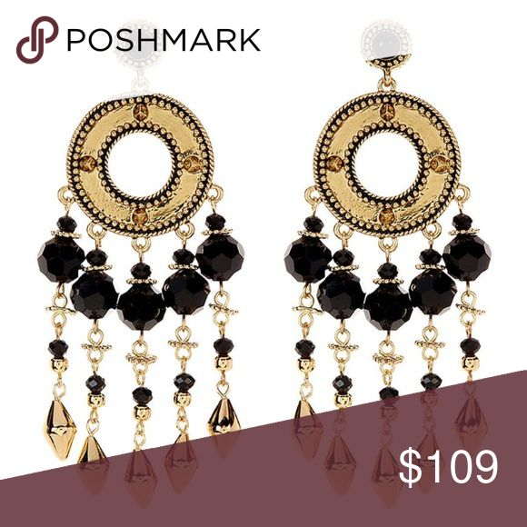 """House of Harlow Cuzco Chandler Earrings in Onyx Brand New With Tags. Gold plated with black onyx beading. Very heavy. Approx 4"""" in length. Gorgeous!!! House of Harlow 1960 Jewelry Earrings"""