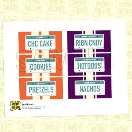 Birthday Party Food Labels from the by SpaceshipsLaserBeams