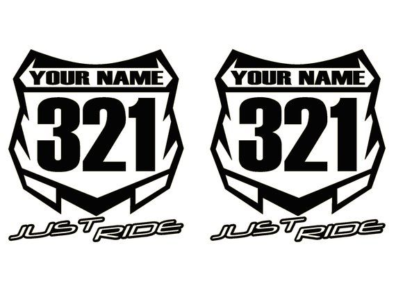 Motocross Number Plate Decal Sticker Custom Name Number Mx