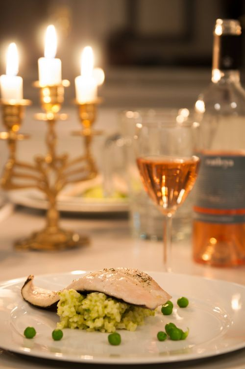 Trout fillet, peas risotto #rosewine #trout #peasrisotto @Cincsor.Transylvania.Guesthouses