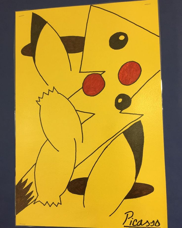 A portrait of Pikachu from Picasso's little known Yellow Period. #Pokemon #gottacatchemall
