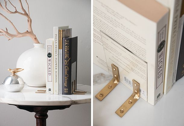 DIY nearly-invisible acrylic bookends. I bet you could place these inside the end books, too, to hide the end even more.