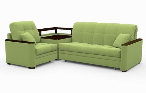 Угловой диван «Дискавери», зеленый, глубина спального места 150 см