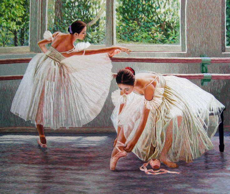 Two Sunlit Ballerinas #Handmade #Silk #Embroidery #Art 75124 http://www.queensilkart.com/100-handmade-silk-sunlit-ballerinas-suzhou-silk-embroidery-art-75124/ A talented silk embroidery artist spent nearly a year stitching this gorgeous portrait of 2 ballerinas in a sunny studio. This embroidery is a completely natural form of art. No glues, paint or machinery, just silk, vegetable dyes and a needle. This unique style of silk embroidery artwork was created in Suzhou, China nearly 2200 year…
