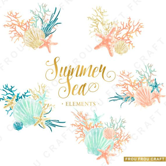 Watercolor Sea ClipArt Summer Nautical Elements by froufroucraft
