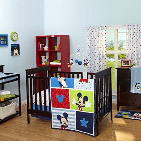 Disney Baby Mickey Mouse 3 Piece Crib Bedding Set, Blue