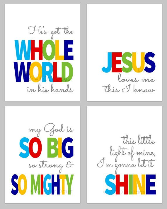 Sunday School Songs Bundle // Bold // INSTANT DOWNLOAD // Nursery & Kid's Wall Art